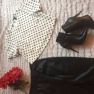 Crop polka dot blouse